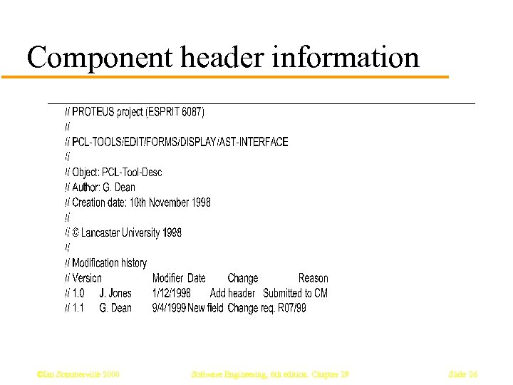 Component header information ©Ian Sommerville 2000 Software Engineering, 6 th edition. Chapter 29 Slide