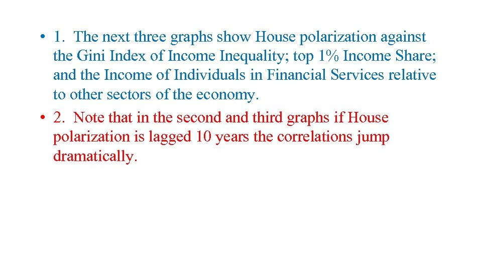 • 1. The next three graphs show House polarization against the Gini Index