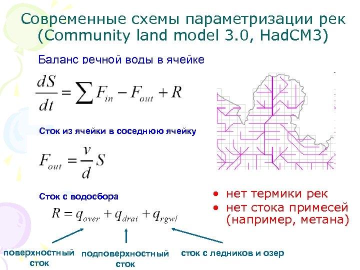 Современные схемы параметризации рек (Community land model 3. 0, Had. CM 3) Баланс речной