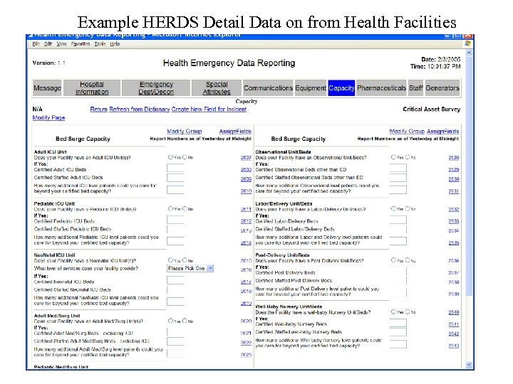 Example HERDS Detail Data on from Health Facilities