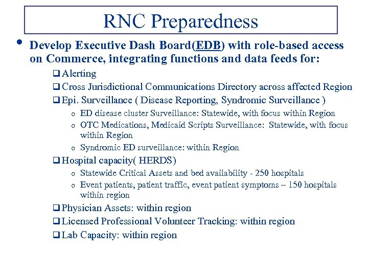 • RNC Preparedness Develop Executive Dash Board(EDB) with role-based access on Commerce, integrating