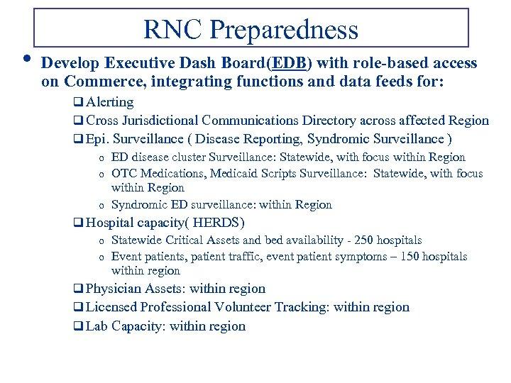 • RNC Preparedness Develop Executive Dash Board(EDB) with role-based access on Commerce, integrating
