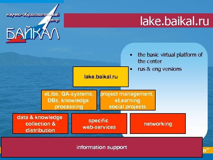 lake. baikal. ru • • the basic virtual platform of the center rus &