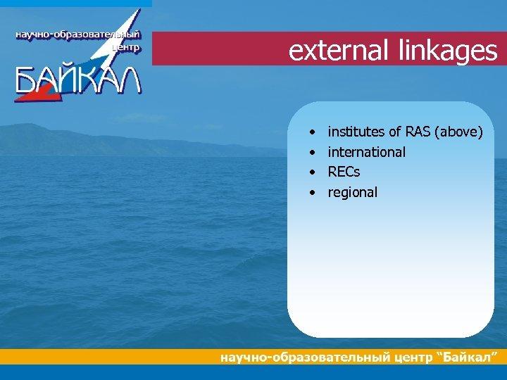 external linkages • • institutes of RAS (above) international RECs regional