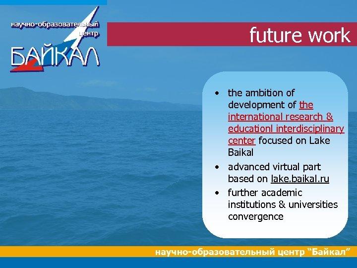 future work • the ambition of development of the international research & educationl interdisciplinary