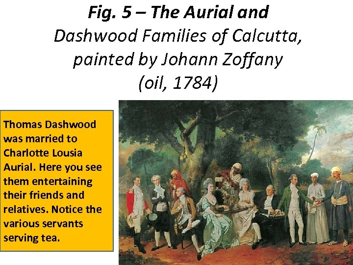 Fig. 5 – The Aurial and Dashwood Families of Calcutta, painted by Johann Zoffany
