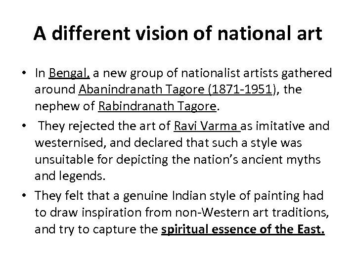 A different vision of national art • In Bengal, a new group of nationalist