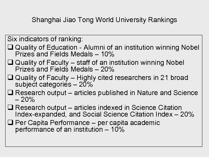 Shanghai Jiao Tong World University Rankings Six indicators of ranking: q Quality of Education