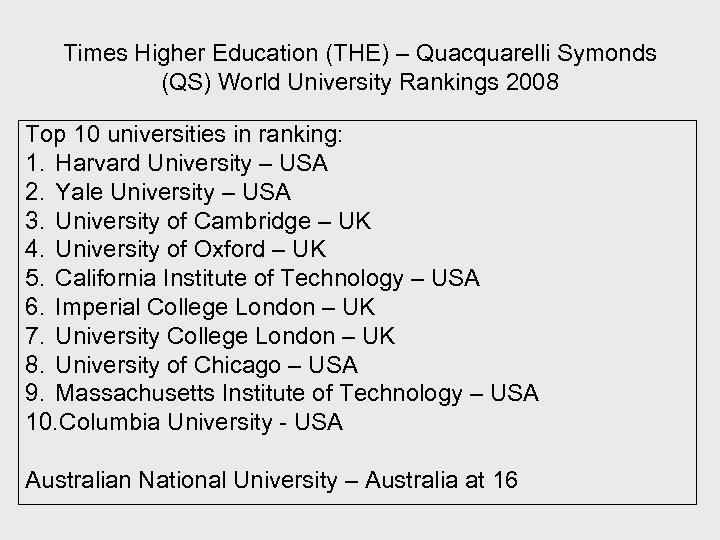 Times Higher Education (THE) – Quacquarelli Symonds (QS) World University Rankings 2008 Top 10