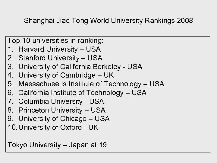 Shanghai Jiao Tong World University Rankings 2008 Top 10 universities in ranking: 1. Harvard