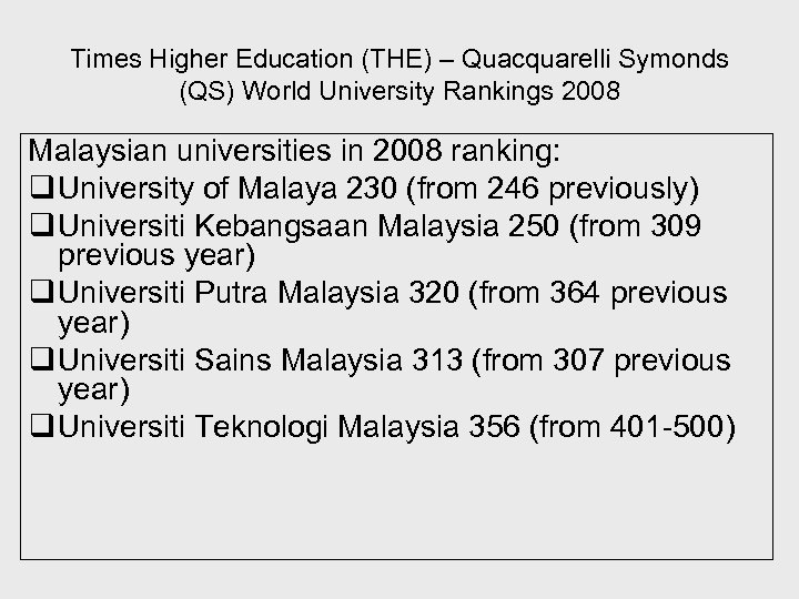 Times Higher Education (THE) – Quacquarelli Symonds (QS) World University Rankings 2008 Malaysian universities