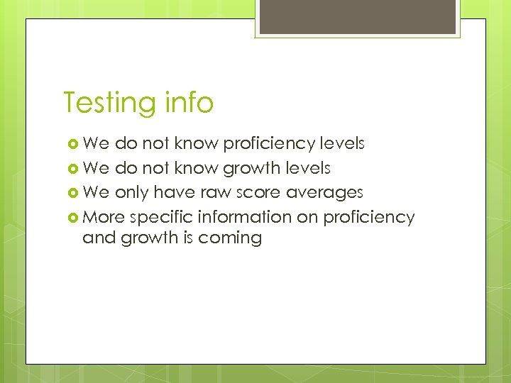 Testing info We do not know proficiency levels We do not know growth levels