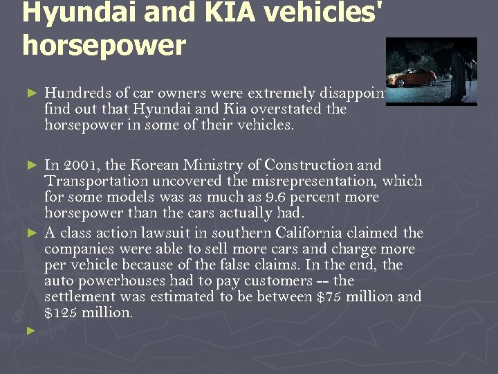 Hyundai and KIA vehicles' horsepower ► Hundreds of car owners were extremely disappointed to