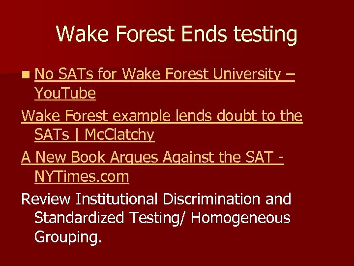 Wake Forest Ends testing n No SATs for Wake Forest University – You. Tube