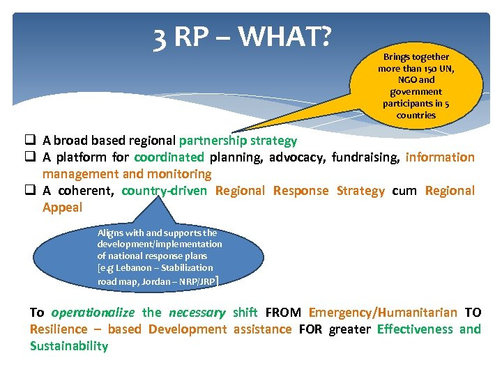 3 RP – WHAT? Brings together more than 150 UN, NGO and government participants