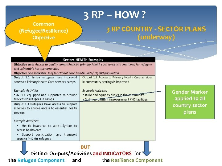 Common (Refugee/Resilience) Objective 3 RP – HOW ? 3 RP COUNTRY - SECTOR PLANS