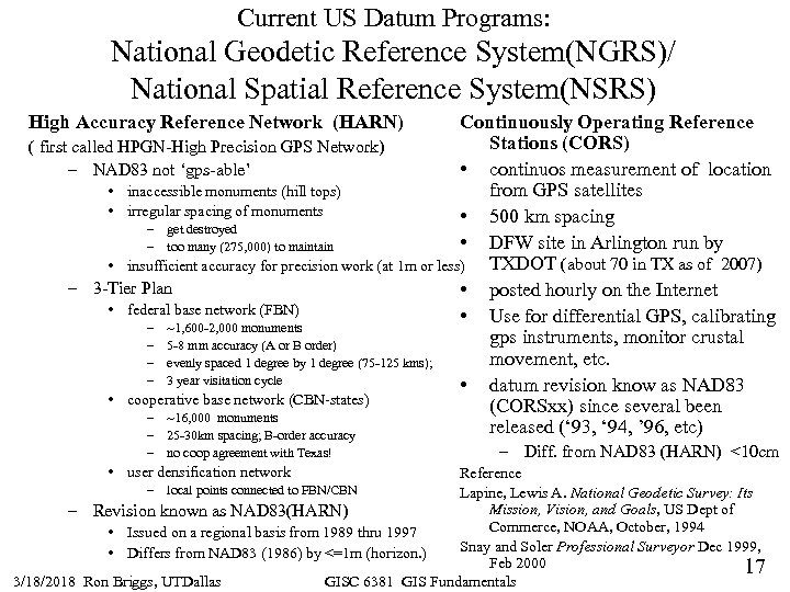 Current US Datum Programs: National Geodetic Reference System(NGRS)/ National Spatial Reference System(NSRS) Continuously Operating