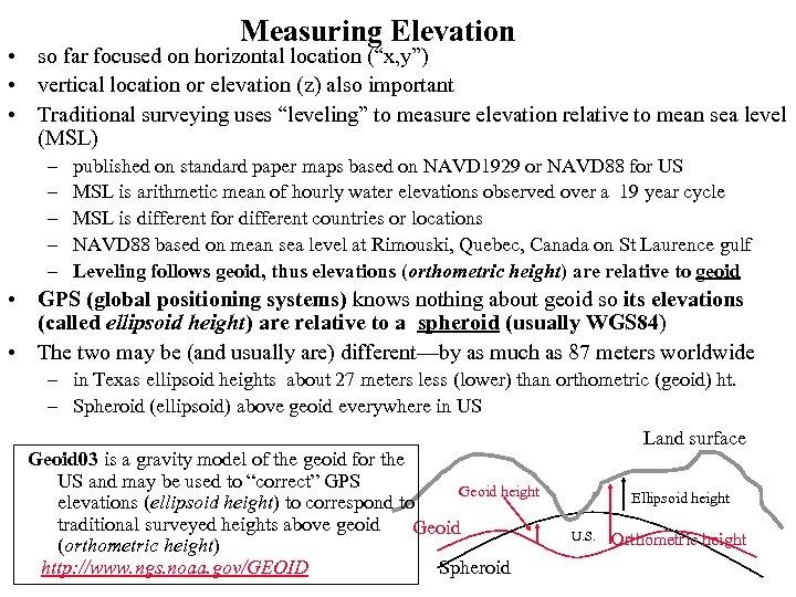 "Measuring Elevation • so far focused on horizontal location (""x, y"") • vertical location"