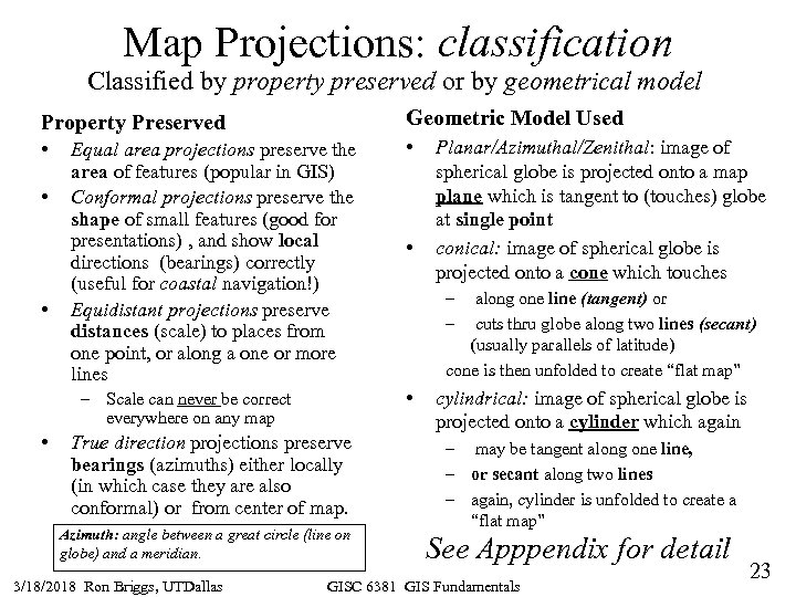 Map Projections: classification Classified by property preserved or by geometrical model Property Preserved Geometric