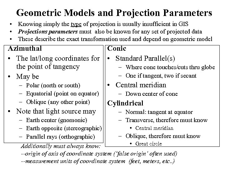 Geometric Models and Projection Parameters • Knowing simply the type of projection is usually