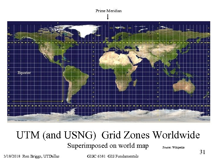 Prime Meridian Equator UTM (and USNG) Grid Zones Worldwide Superimposed on world map 3/18/2018