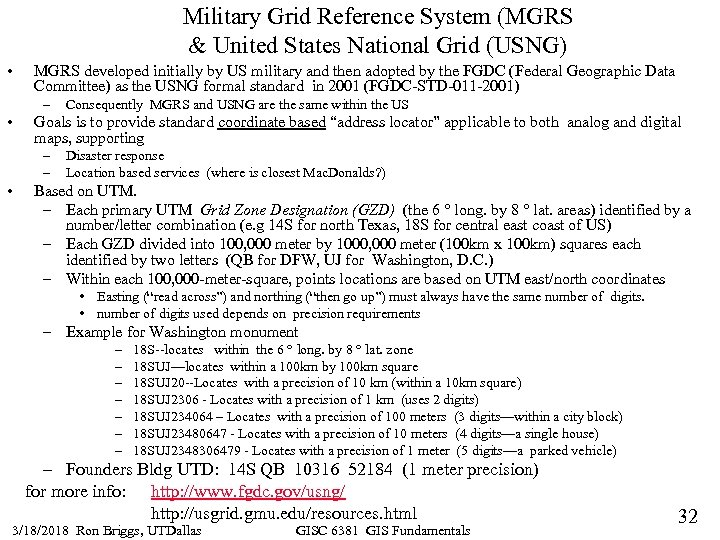 Military Grid Reference System (MGRS & United States National Grid (USNG) • MGRS developed