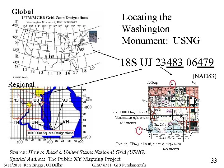 Global Locating the Washington Monument: USNG 14 S 18 S UJ 23483 06479 (NAD