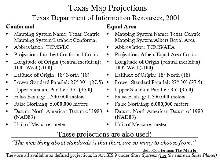 Texas Map Projections Texas Department of Information Resources, 2001 Conformal Equal Area • •