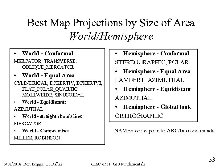 Best Map Projections by Size of Area World/Hemisphere • World - Conformal MERCATOR, TRANSVERSE,