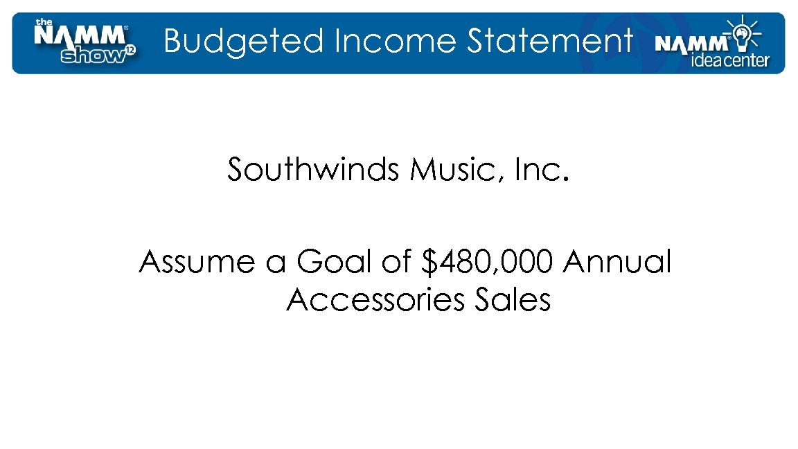 Budgeted Income Statement Southwinds Music, Inc. Assume a Goal of $480, 000 Annual Accessories