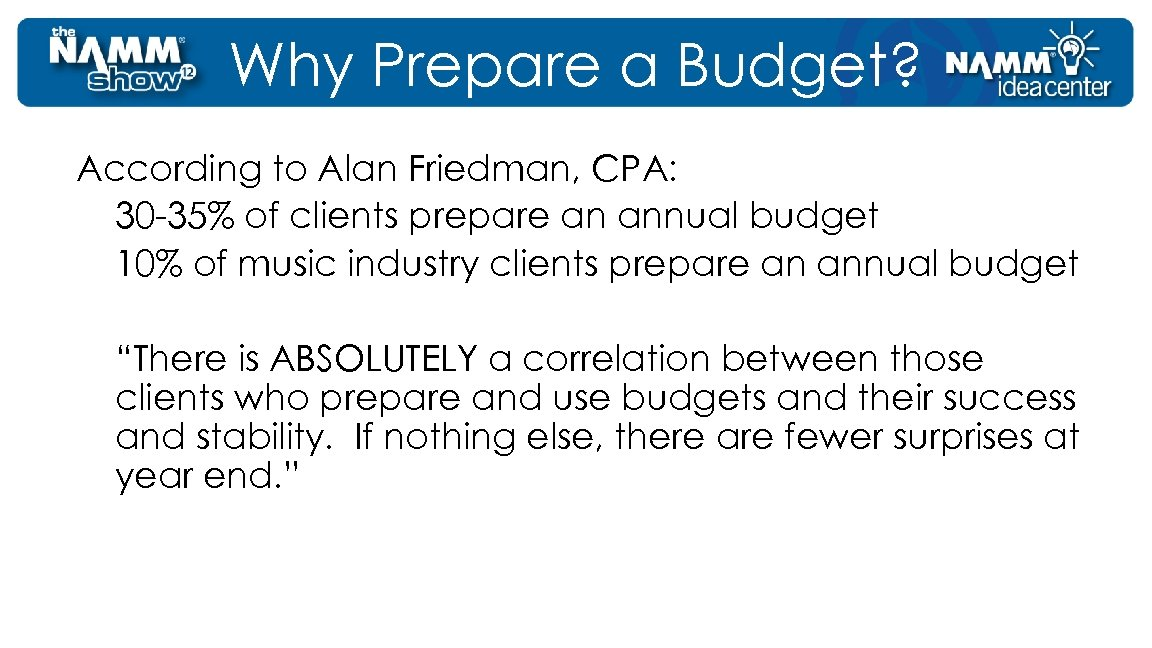 Why Prepare a Budget? According to Alan Friedman, CPA: 30 -35% of clients prepare