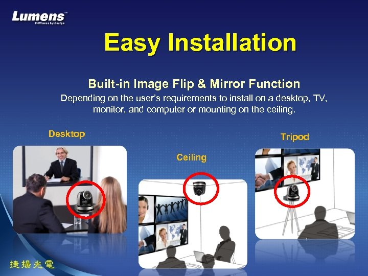 Easy Installation Built-in Image Flip & Mirror Function Depending on the user's requirements to