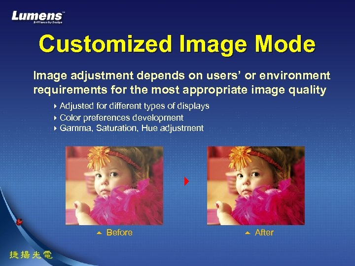 Customized Image Mode Image adjustment depends on users' or environment requirements for the most