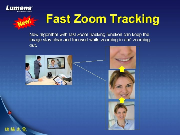 Fast Zoom Tracking New algorithm with fast zoom tracking function can keep the image