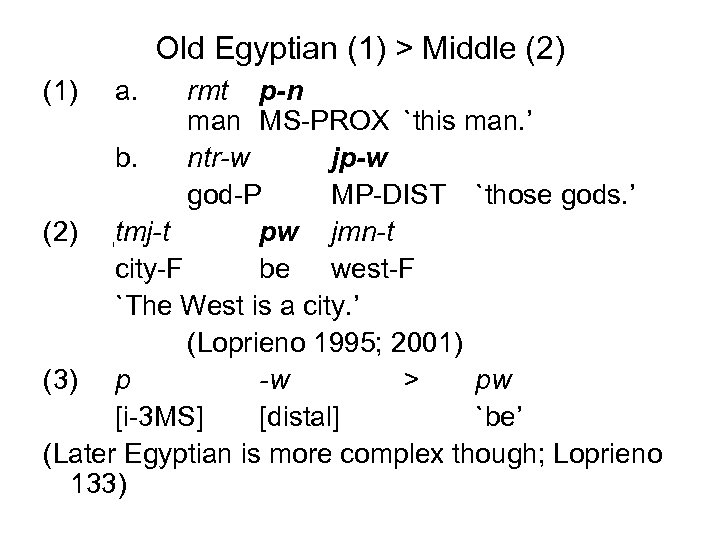 Old Egyptian (1) > Middle (2) (1) a. rmt p-n man MS-PROX `this man.