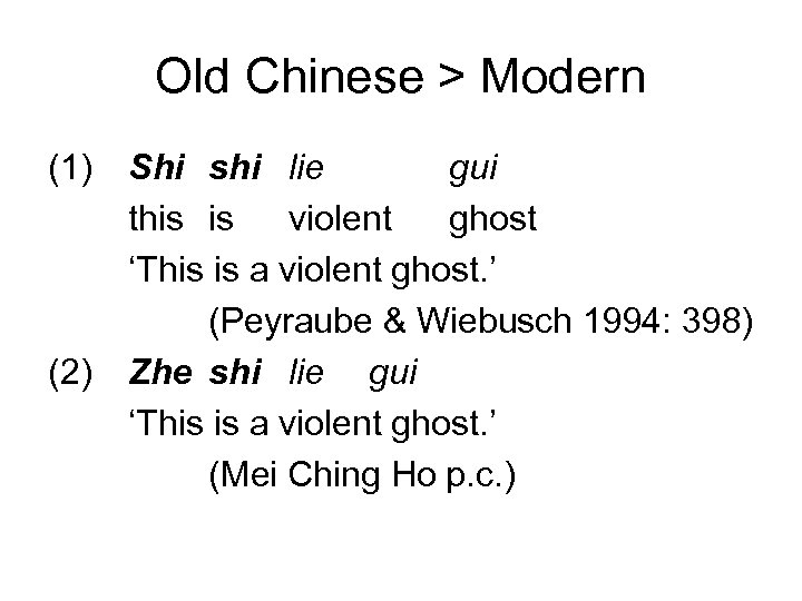 Old Chinese > Modern (1) (2) Shi shi lie gui this is violent ghost