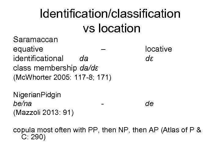 Identification/classification vs location Saramaccan equative – identificational da class membership da/dɛ locative dɛ (Mc.