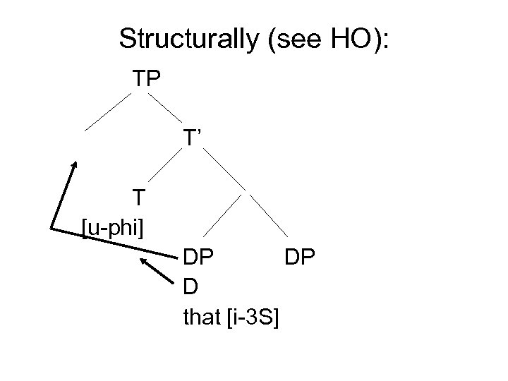 Structurally (see HO): TP T' T [u-phi] DP DP D that [i-3 S]