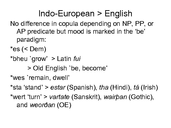 Indo-European > English No difference in copula depending on NP, PP, or AP predicate