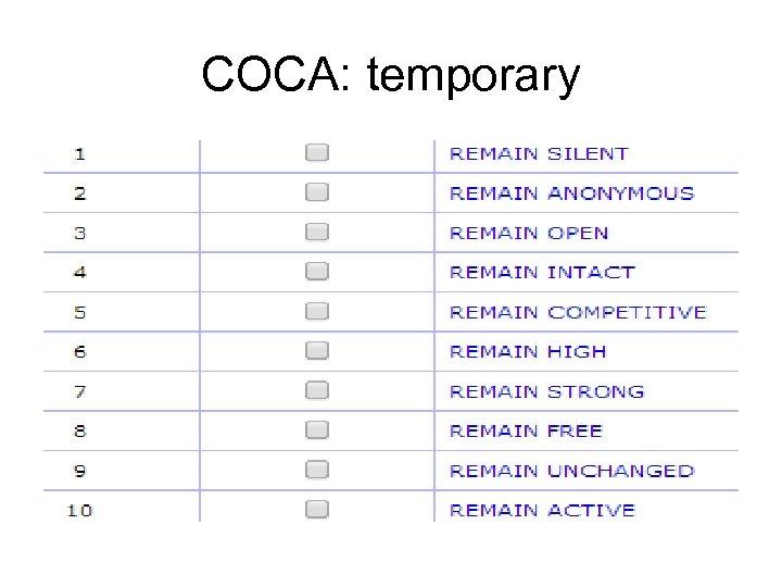 COCA: temporary