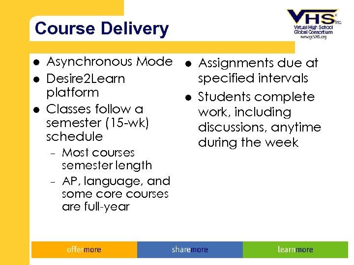 Course Delivery l l l Asynchronous Mode Desire 2 Learn platform Classes follow a