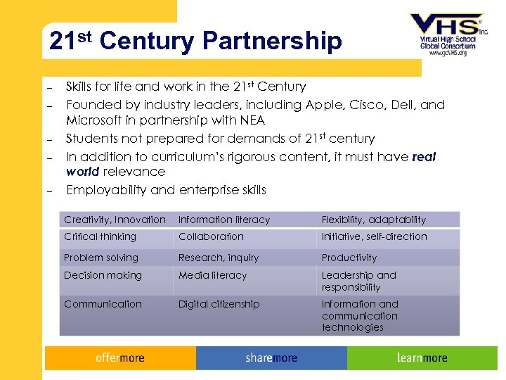 21 st Century Partnership – – – Skills for life and work in the