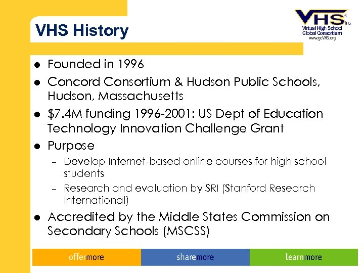 VHS History l l Founded in 1996 Concord Consortium & Hudson Public Schools, Hudson,