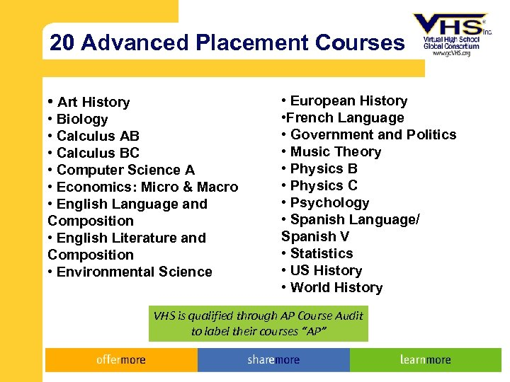 20 Advanced Placement Courses • Art History • Biology • Calculus AB • Calculus