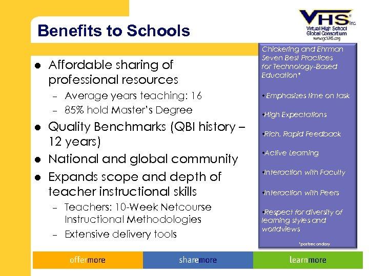 Benefits to Schools l Affordable sharing of professional resources – – l l l