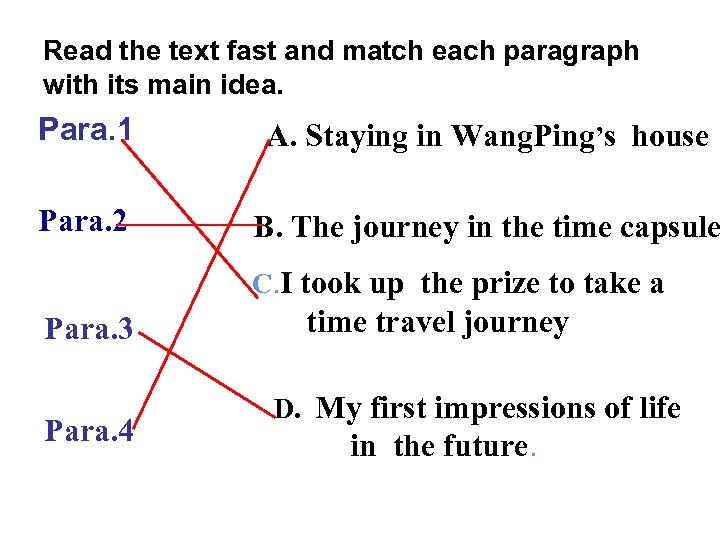 Read the text fast and match each paragraph with its main idea. Para. 1