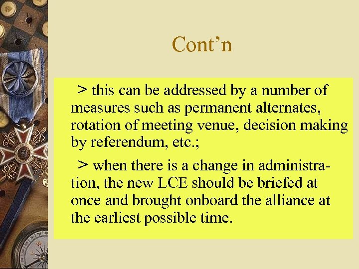Cont'n > this can be addressed by a number of measures such as permanent