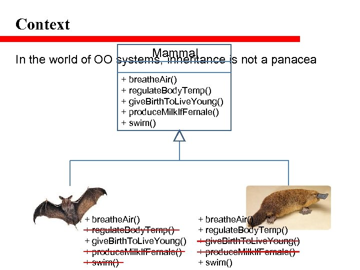 Context Mammal In the world of OO systems, inheritance is not a panacea +