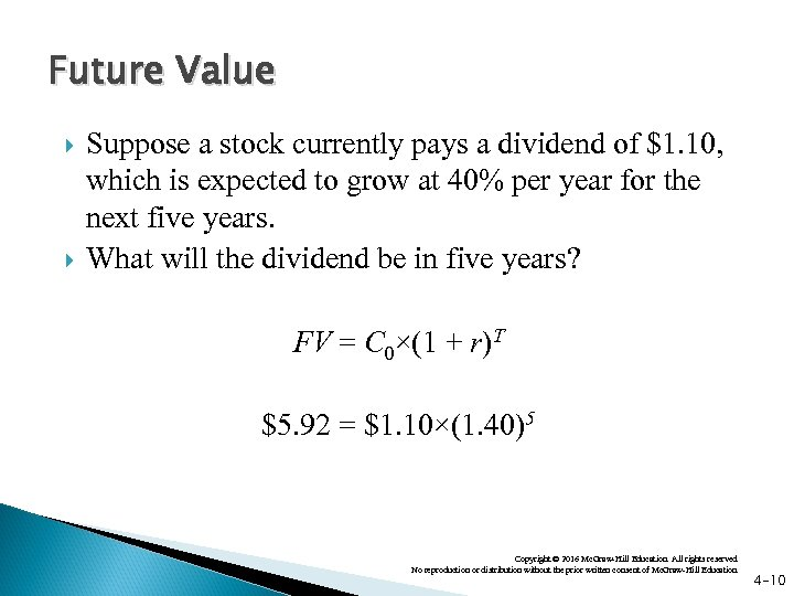 Future Value Suppose a stock currently pays a dividend of $1. 10, which is