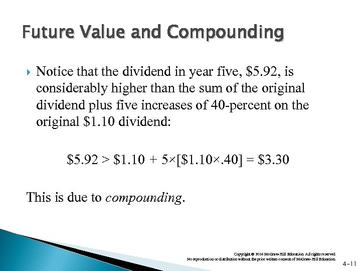 Future Value and Compounding Notice that the dividend in year five, $5. 92, is